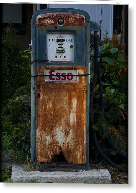 Esso Gas Pump Greeting Card by Bill Cannon