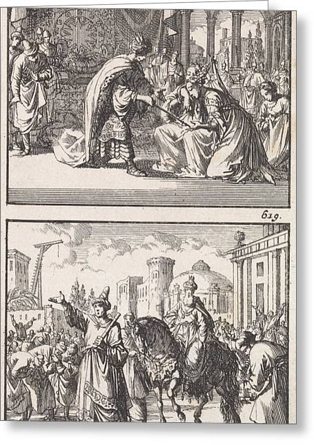 Esther Before Ahasuerus, Triumph Of Mordecai Greeting Card by Jan Luyken And Barent Visscher And Andries Van Damme