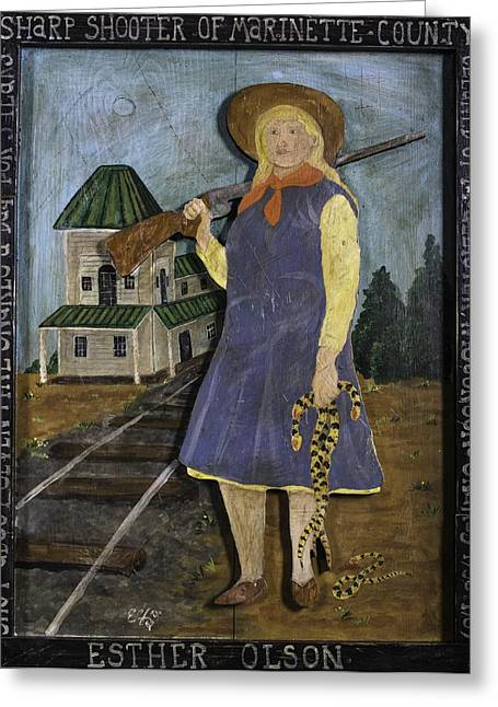 Greeting Card featuring the painting Esther Olson - Sharp Shooter by Eric Cunningham