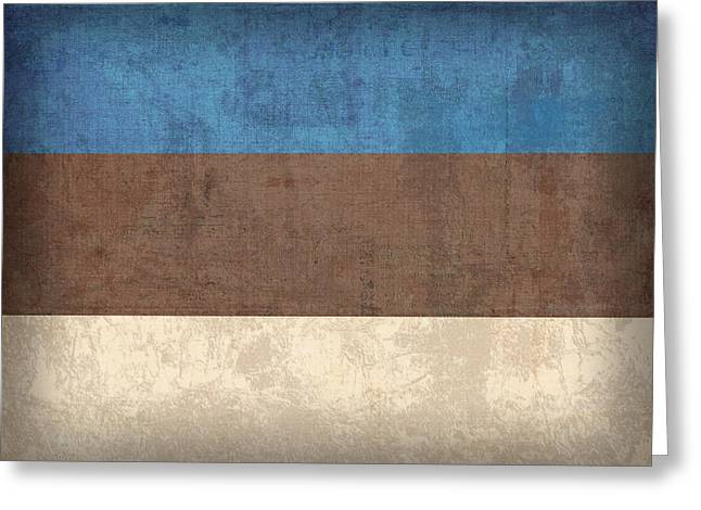 Estonia Flag Vintage Distressed Finish Greeting Card by Design Turnpike
