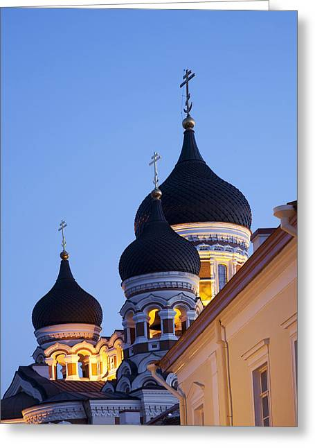 Estonia, Tallin, Old Town Alexander Greeting Card by Tips Images