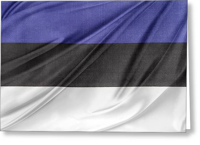 Estonian Flag Greeting Card by Les Cunliffe