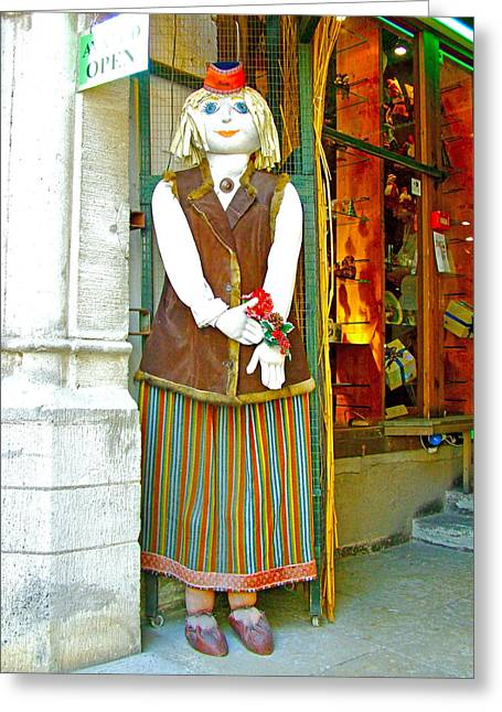 Estonian Greeter In Old Town Tallinn-estonia Greeting Card by Ruth Hager