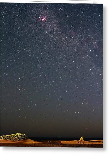 Eta Carina Nebula Over A Beach Greeting Card by Luis Argerich