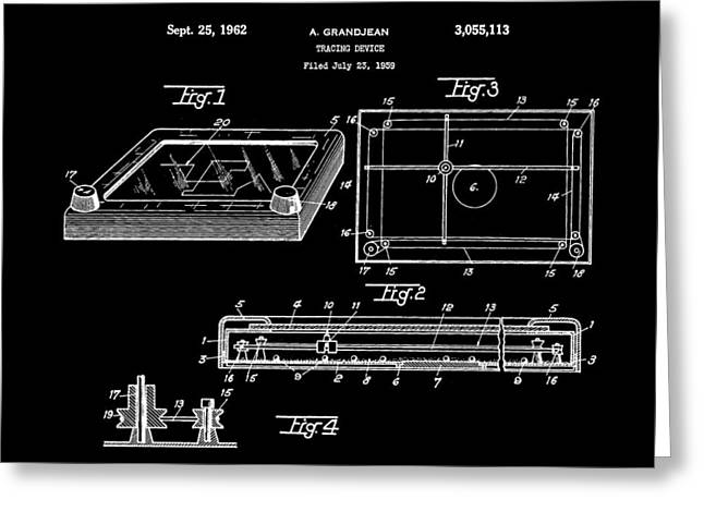 Etch A Sketch Patent 1959 - Black Greeting Card by Stephen Younts