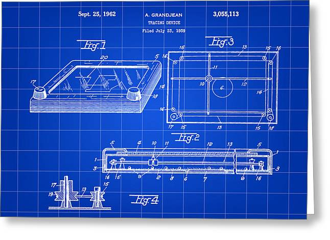 Etch A Sketch Patent 1959 - Blue Greeting Card by Stephen Younts