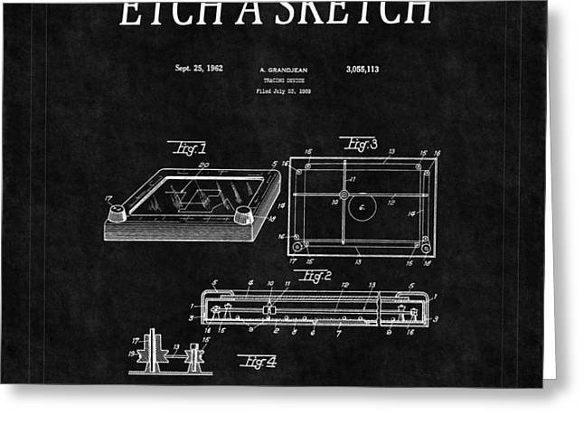 Etch A Sketch Patent 2 Greeting Card by Andrew Fare