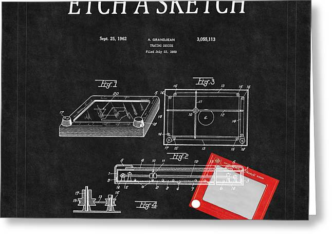 Etch A Sketch Patent 3 Greeting Card by Andrew Fare