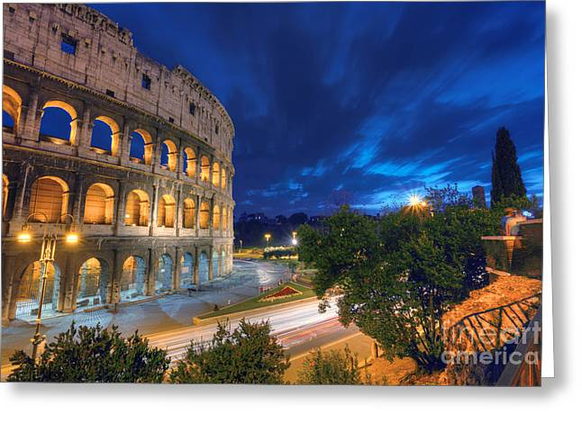 Eternal Blue Hour Greeting Card by Marco Crupi