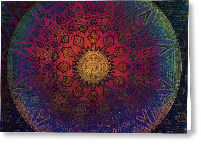 Eternal Sun Glyph Mandala Greeting Card by Miabella Mojica