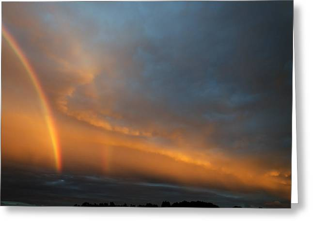 Ethereal Clouds And Rainbow Greeting Card by Greg Reed