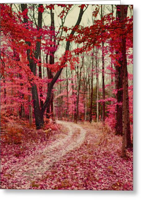 Ethereal Forest Path With Red Fall Colors Greeting Card