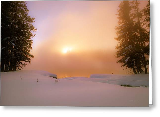 Ethereal Winter Sunrise Greeting Card by Leland D Howard