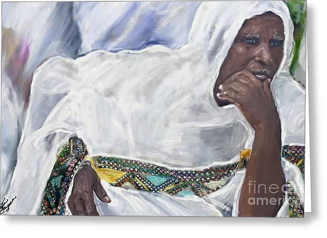 Greeting Card featuring the painting Ethiopian Orthodox Jewish Woman by Vannetta Ferguson