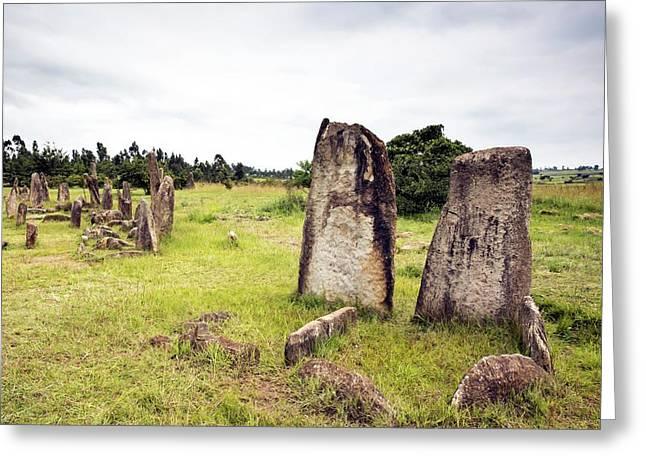 Ethiopian Stone Stelae At Tiya Greeting Card by Peter J. Raymond
