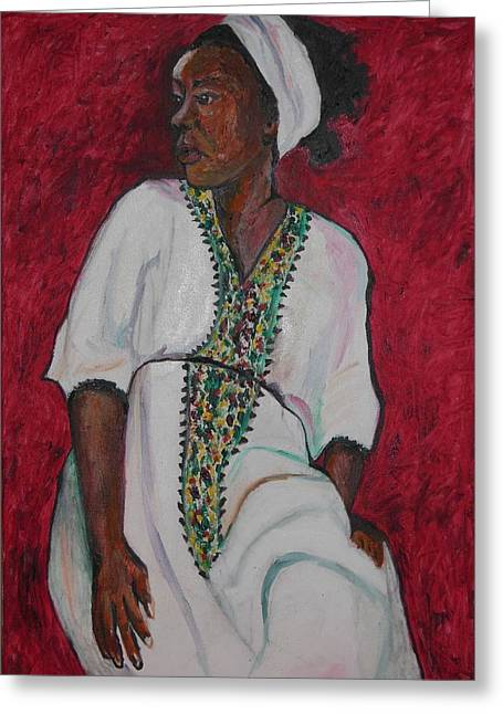 Ethiopian Woman In Red Greeting Card by Esther Newman-Cohen