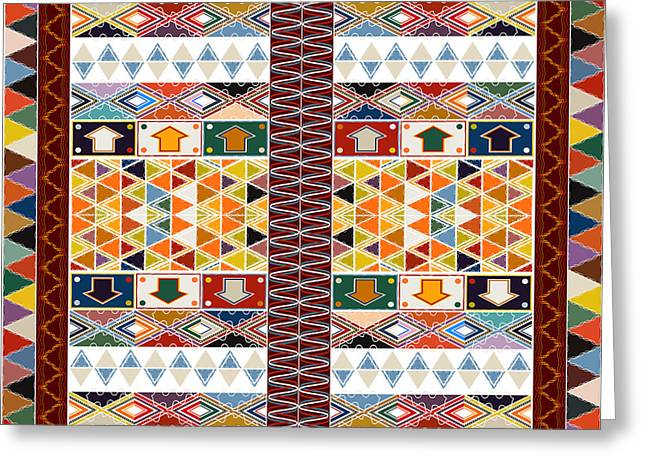 Ethnic Carpet Design Greeting Card by Richard Laschon