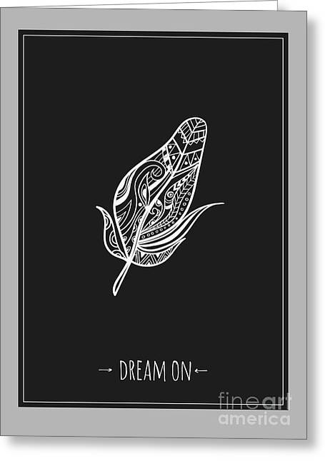 Ethnic Design Poster With Feather Greeting Card