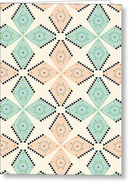 Ethnic Folk Print Greeting Card by Susan Claire