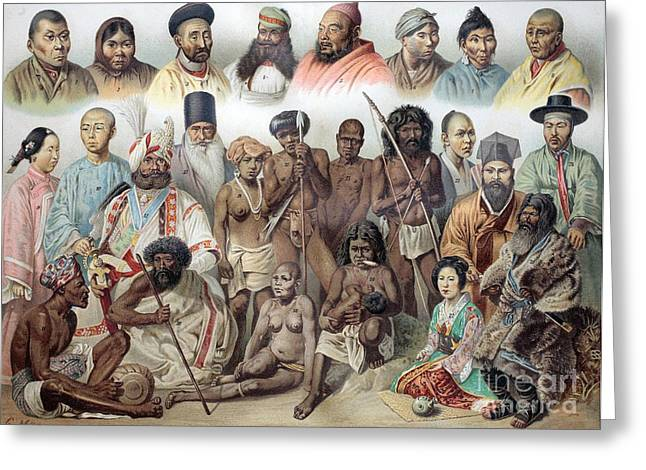 Ethnic Groups Of Asia, 1880s Greeting Card
