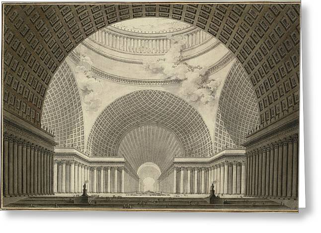 Etienne-louis Boullée, Perspective View Of The Interior Greeting Card by Litz Collection