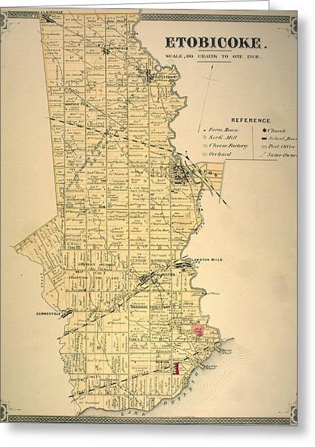 Etobicoke Map 1878 Greeting Card by Georgia Fowler