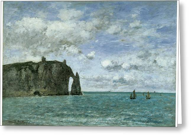Etretat The Porte D'aval Greeting Card by Eugene Boudin