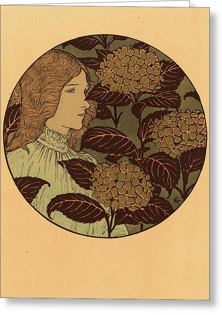 Eugene Grasset, Roundel Portrait Of A Girl Greeting Card