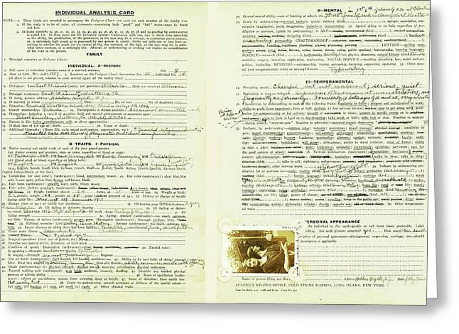 Eugenics Data Collection Greeting Card by American Philosophical Society
