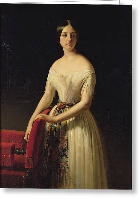 Eugenie Saint-amand, 1841 Oil On Canvas Greeting Card by Claude-Marie Dubufe
