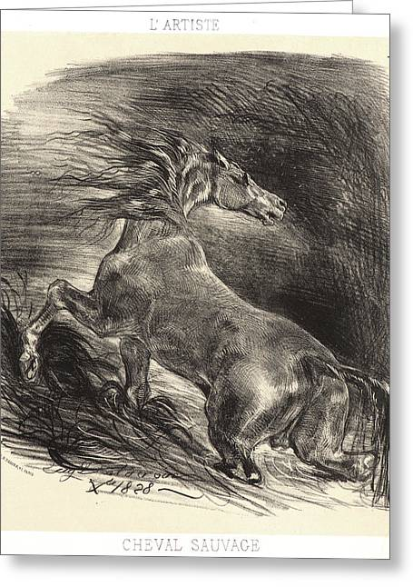 Eugène Delacroix French, 1798 - 1863. A Wild Horse Greeting Card