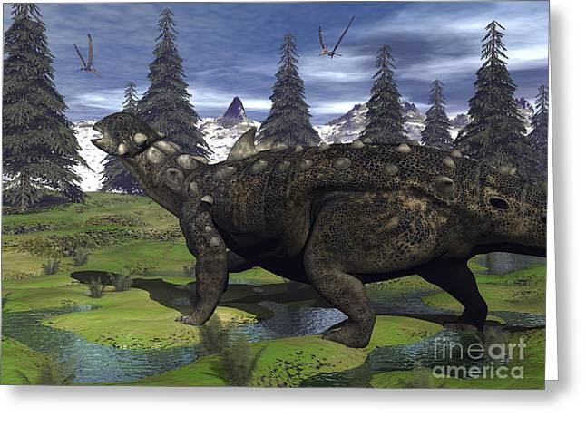 Euoplocephalus Dinosaur Walking Greeting Card