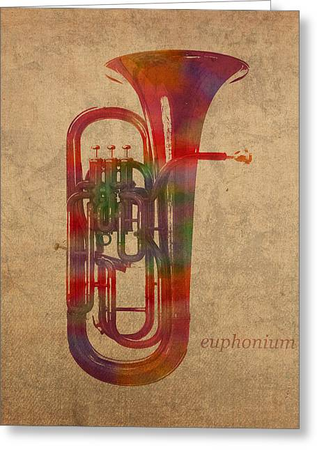 Euphonium Brass Instrument Watercolor Portrait On Worn Canvas Greeting Card