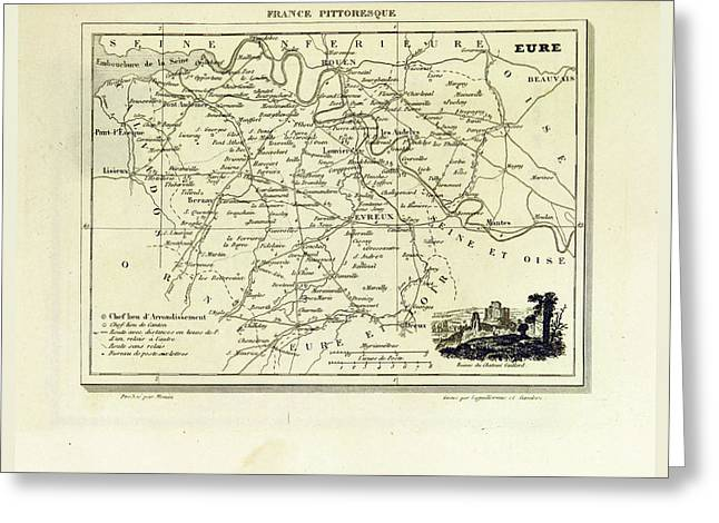 Eure, France Pittoresque, Map Greeting Card by Litz Collection