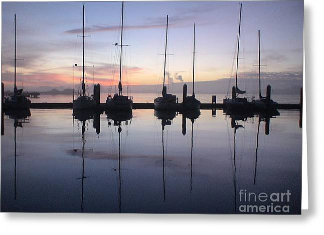 Eureka Harbor At Sunset Greeting Card