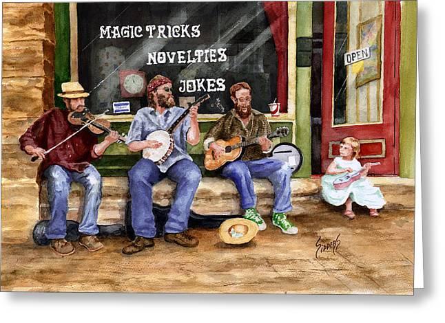 Eureka Springs Novelty Shop String Quartet Greeting Card by Sam Sidders