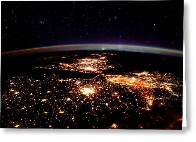 Europe At Night, Satellite View Greeting Card by Science Source