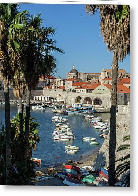 Europe, Croatia, Dubrovnik, Boats Greeting Card by Jim Engelbrecht