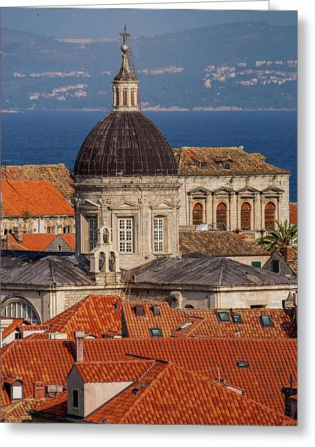 Europe, Croatia, Dubrovnik, Red Tiled Greeting Card by Jim Engelbrecht