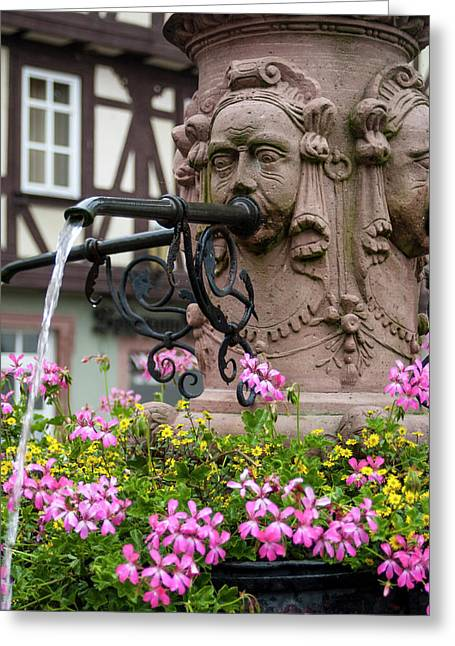 Europe, Germany, Miltenberg, Fountain Greeting Card