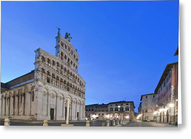 Europe, Italy, Tuscany, Lucca, Piazza Greeting Card