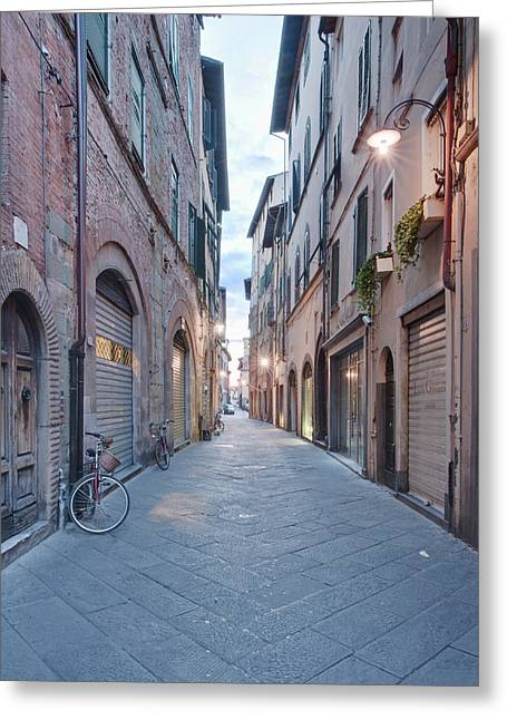 Europe, Italy, Tuscany, Lucca, Street Greeting Card by Rob Tilley