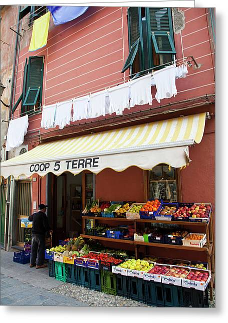 Europe Italy Vernazza Market Greeting Card by Terry Eggers