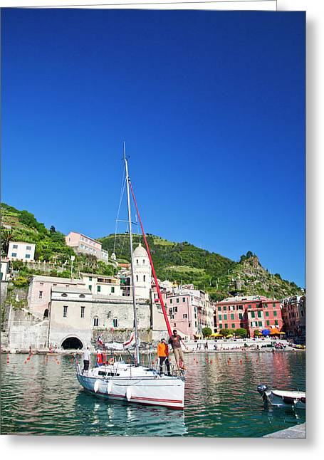 Europe Italy Vernazza Sail Boat Landing Greeting Card by Terry Eggers