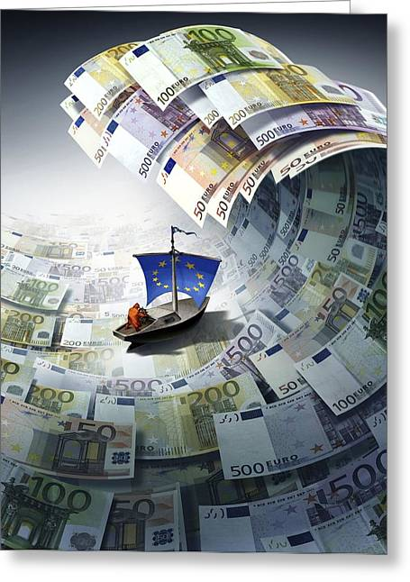 Europe Sinking In Debt, Conceptual Image Greeting Card by Science Photo Library