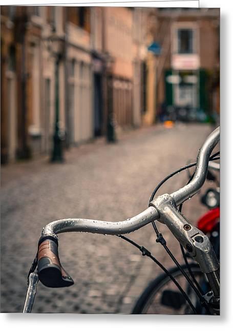 European Bicycle Scene Greeting Card