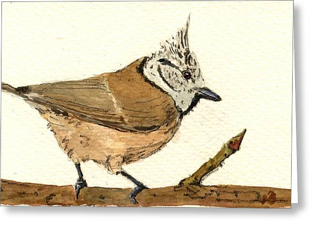 European Crested Tit Greeting Card by Juan  Bosco