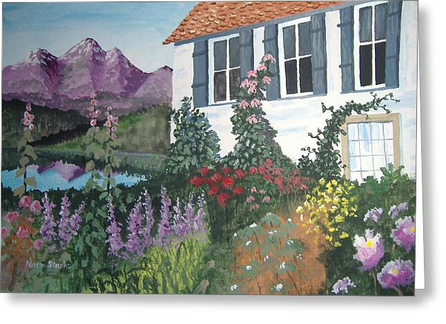 Greeting Card featuring the painting European Flower Garden by Norm Starks