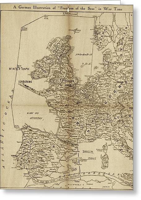 European Naval Restrictions Greeting Card by Library Of Congress, Geography And Map Division