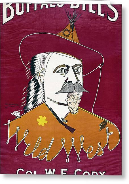 Buffalo Bill Wild West Show Announcement - 1890 Greeting Card by Daniel Hagerman